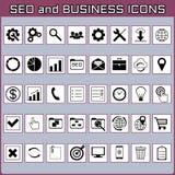Płaski minimalny czarny i biały ikona set SEO i biznes zdjęcie royalty free