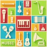 Płaski muzycznych instrumentów tła pojęcie wektor Fotografia Royalty Free