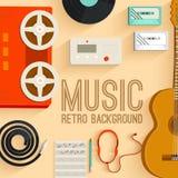 Płaski muzycznych instrumentów tła pojęcie wektor Zdjęcia Royalty Free