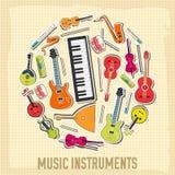 Płaski muzycznych instrumentów tła pojęcie wektor Zdjęcie Stock