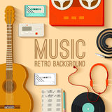 Płaski muzycznych instrumentów tła pojęcie wektor Obraz Royalty Free