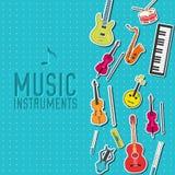 Płaski muzycznych instrumentów tła pojęcie wektor Obraz Stock