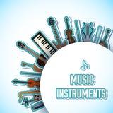 Płaski muzycznych instrumentów tła pojęcie wektor Obrazy Royalty Free