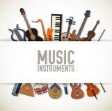 Płaski muzycznych instrumentów tła pojęcie wektor Zdjęcia Stock