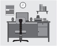 Płaski nauki biurka projekt z laptopem ilustracja wektor