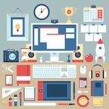 Płaski nowożytnego projekta ilustracyjny pojęcie kreatywnie biurowy workspace royalty ilustracja