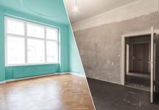 Płaski odświeżanie, mieszkania odnowienie, izbowy modernizacja przeciw obrazy royalty free