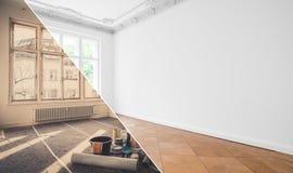Płaski odświeżanie, mieszkania odnowienie, izbowy modernizacja przeciw zdjęcie royalty free