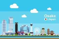 Płaski Osaka pejzaż miejski Fotografia Royalty Free