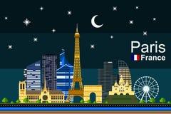 Płaski Paryski pejzaż miejski przy nocą Zdjęcia Stock