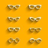 Płaski projektów eyeglasses wektorowy ustawiający z cieniami ilustracji