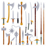 Płaski projekt barwi średniowiecznego broń set Zdjęcia Royalty Free