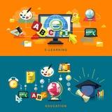 Płaski projekt dla edukaci i online uczenie Zdjęcie Royalty Free