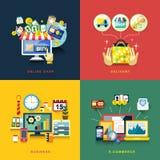 Płaski projekt dla handlu elektronicznego, dostawa, online zakupy, biznes Obrazy Stock