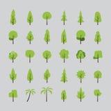 Płaski projekt drzewo set Fotografia Royalty Free