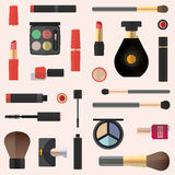 Płaski projekt Kosmetyczny bezszwowy wzór Kosmetyka tło Obrazy Stock