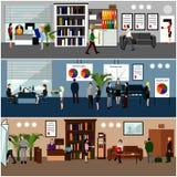 Płaski projekt ludzie biznesu lub urzędnicy Zdjęcia Stock