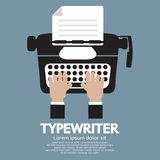 Płaski projekt maszyna do pisania Klasyczna Pisać na maszynie maszyna Obraz Royalty Free