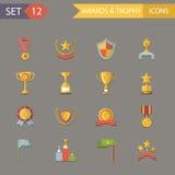 Płaski projekt Nagradza symbole i trofeum ikony   Zdjęcia Royalty Free