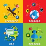 Płaski projekt sieci ikon wektorowy ustawiający dla kontaktu, usługa, faq & sup, ilustracji