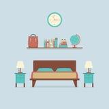 Płaski projekt sypialni wnętrze Zdjęcie Royalty Free
