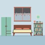 Płaski projekt sypialni wnętrze Obraz Royalty Free