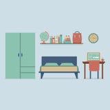 Płaski projekt sypialni wnętrze Zdjęcie Stock