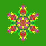 Płaski projekt z abstrakcjonistycznymi stubarwnymi płatek śniegu odizolowywającymi na zielonym tle Wektorowy płatek śniegu mandal ilustracji