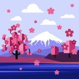 Płaski projekta krajobraz Japonia wektor royalty ilustracja