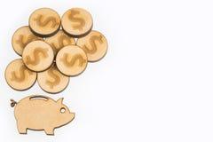 Płaski projekta oszczędzania pojęcie z prosiątko monetami i bankiem Biały tło obrazy stock