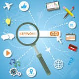 Płaski projekta pojęcie analityka szuka informację i SEO optymalizacja Obrazy Stock