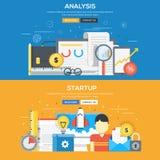 Płaski projekta pojęcie - analiza i rozpoczęcie royalty ilustracja