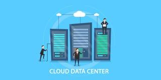 Płaski projekta pojęcie centrum danych, obłoczny oblicza zarządzanie ilustracja wektor