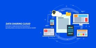 Płaski projekta pojęcie internetów dane udzielenie, obłoczny obliczać, serweru zarządzanie danymi ilustracja wektor