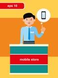 Płaski projekta pojęcie mobilny sklep Zdjęcie Stock