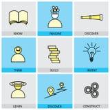 Płaski projekta set wektor linii ikony zna wyobraża sobie odkrywa th ilustracja wektor