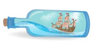 Płaski projekta statek w butelce Obrazy Royalty Free