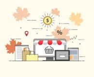 Płaski projekta sztandar handel elektroniczny i zakupy dla strony internetowej i wiszącej ozdoby strony internetowej Łatwy używać zdjęcia stock