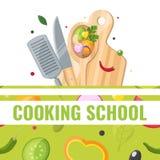 Płaski projekta sztandar kucharstwo szkoła z kucharstw narzędziami obraz stock