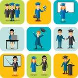 Płaski projekta uczenie pojęcie dla edukaci z absolwentami, nauczyciele Zdjęcie Royalty Free