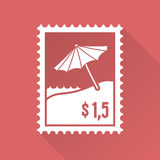 Płaski projekta znaczek z plażą i parasolem Zdjęcia Royalty Free