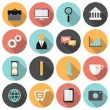 Płaski round biznes i marketingowe sieci ikony ustawiający ilustracji