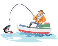 Płaski rybaka kapelusz siedzi na łodzi z trolling połowu prąciem w ręce i chwyty forsują, Fishman szydełkowali wir w Obraz Stock