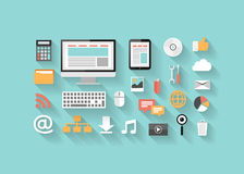Płaski seo, rozwój, ogólnospołeczne ikony, medialne i komputerowe ilustracji