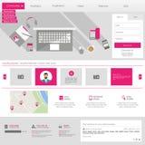 Płaski strona internetowa szablon (Homepage portfolio, kontakt, Wokoło,) Zdjęcia Royalty Free