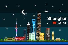 Płaski Szanghaj pejzaż miejski przy nocą Zdjęcie Stock