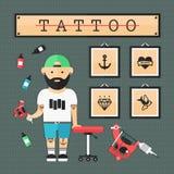 Płaski tatuażu atist i ikona set Obraz Royalty Free
