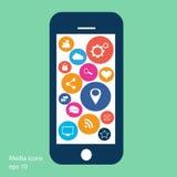 Płaski telefonu komórkowego wektor z ogólnospołecznymi medialnymi ikonami ilustracja wektor