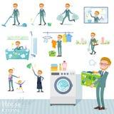 Płaski typ blondyn businessman_housekeeping royalty ilustracja