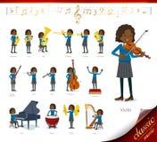 Płaski typ szkoły dziewczyny Black_classic muzyka royalty ilustracja